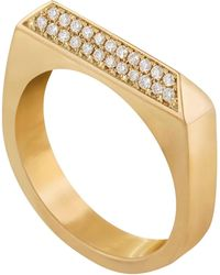 Edge Only - 14ct Gold Double Diamond Rooftop Ring - Lyst