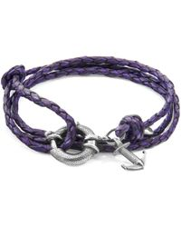 Anchor & Crew - Grape Purple Clyde Anchor Silver & Braided Leather Bracelet - Lyst
