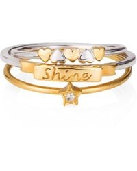 Lee Renee - Shine Like A Star Hearts Stack Ring - Lyst