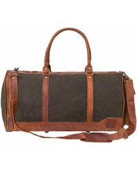 MAHI - Canvas Leather Columbus Holdall/duffle Weekend/overnight Bag In Forest Green - Lyst