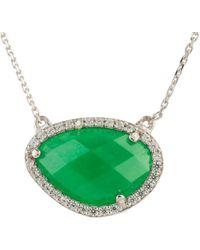 Latelita - Sofia Green Onyx Gemstone Necklace Silver - Lyst
