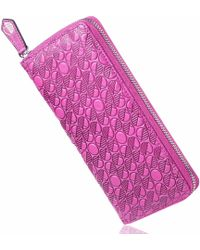 Drew Lennox - Luxury English Leather Ladies 12 Card Zip Around Purse & Wallet In Fuchsia Pink - Lyst