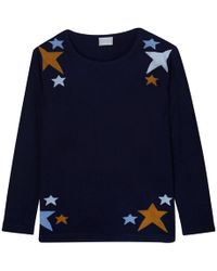 Orwell + Austen Cashmere - Scatted Star Sweater In Navy - Lyst
