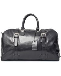 Maxwell Scott Bags - Luxury Italian Leather Medium Travel Bag Flerom Night Black - Lyst