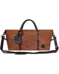 MAHI - Leather Long Armada Duffle Large Weekend/overnight Holdall Bag In Vintage Brown With Mahogany Detail - Lyst