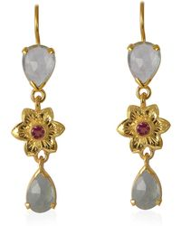 Emma Chapman Jewels - Bellatrix Aquamarine Pink Tourmaline Drop Earrings - Lyst