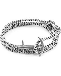 Anchor & Crew - White Noir Admiral Anchor Silver & Rope Bracelet - Lyst