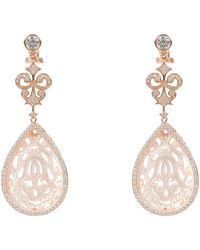 LÁTELITA London - Rosegold Medium Teardrop Carved Earring Mother Of Pearl - Lyst
