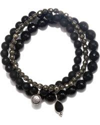 Satya Jewelry - Onyx & Pyrite Stretch Bracelet Set - Lyst