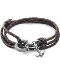Anchor & Crew - Dark Brown Clyde Silver & Braided Leather Bracelet - Lyst