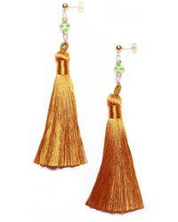 Amundsen Jewellery - Gold Silk Tassel Earrings - Lyst