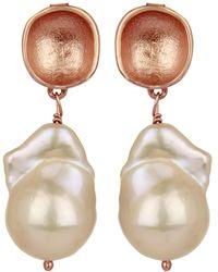 Carousel Jewels - Rose Gold Nugget & Pearl Earrings - Lyst