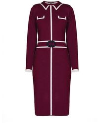 Rumour London - Claire Knitted Jacquard Dress In Mulberry - Lyst