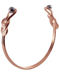 MARIE JUNE Jewelry - Figure 8 Knot Rose Gold & Black Pearls Bangle - Lyst