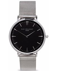 Elie Beaumont - Oxford Large Silver Black Dial Mesh - Lyst