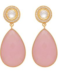 Carousel Jewels - Double Drop Rose Quartz & Crystal Earrings - Lyst