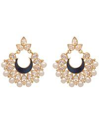 Carousel Jewels - Intricate Pearl Cluster & Blue Crystal Earrings - Lyst