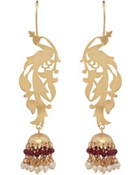 Carousel Jewels - Gold Peacock & Garnet Chandelier Statement Earrings - Lyst