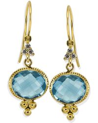 Vintouch Italy - Positano Blue Topaz Cordellina Earrings - Lyst