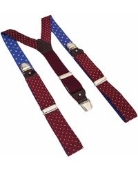 40 Colori - Burgundy-white Dotted Silk Braces - Lyst