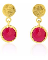Auree Jewellery | Salina Gold Vermeil & Fuchsia Pink Chalcedony Gemstone Drop Earrings | Lyst