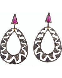 Meghna Jewels - Interlocking Claw Earrings Black & Champagne Diamonds - Lyst