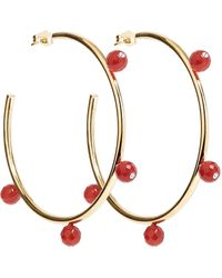 A. Carnevale - Oh So Pretty Hoops Gold & Red - Lyst