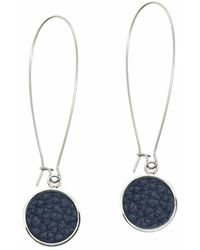 N'damus London | Silverdale Blue Leather & Steel Drop Earrings | Lyst