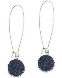 N'damus London - Silverdale Blue Leather & Steel Drop Earrings - Lyst