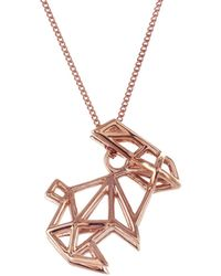 Origami Jewellery - Frame Rabbit Necklace Rose Gold - Lyst