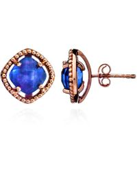 Azuni London | Delphi Simple Stone Studs In Rose Gold & Iolite | Lyst