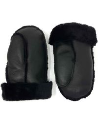N'damus London Aviator Black Shearling Sheepskin Wool & Leather Mittens