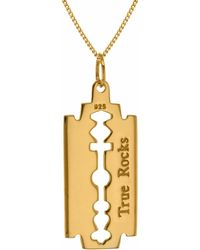 True Rocks - Mini Razorblade Necklace Yellow Gold - Lyst