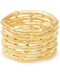 Yucama | Bamboo Stacked Ring Gold | Lyst