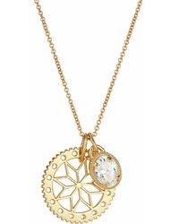 One and One Studio - Gold Flower Disc And Jewel Pendant Set - Lyst