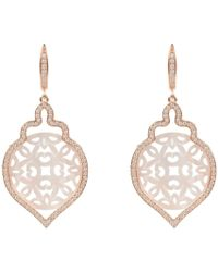Latelita - Rosegold Carved Teardrop Pearl Earring White Mother Of Pearl - Lyst