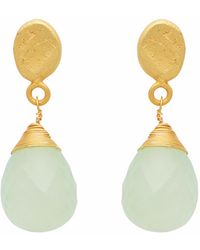 Carousel Jewels | Textured Gold Nugget & Chalcedony Drop Earrings | Lyst