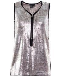 OKAYLA - Metallic Longline Silver Vest With Zip - Lyst