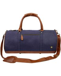 MAHI - Gym Duffle In Navy Canvas & Brown Leather - Lyst