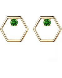 Opes Robur - Gold Linear Stud Earrings With Diopside - Lyst