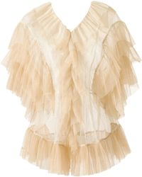 Supersweet x Moumi - Tulle Blouse In White & Beige - Lyst