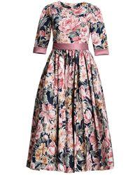 MATSOUR'I - Luisa Dress Dark Blue With Flowers - Lyst