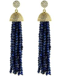 Cosanuova - Sterling Silver Lapis Tassel Earrings In Yellow - Lyst