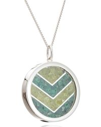 Rachel Jackson London Emerald Chevron Amulet In Silver Long - Metallic