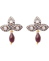Carousel Jewels - Crystal Quartz And Garnet Drop Earrings - Lyst
