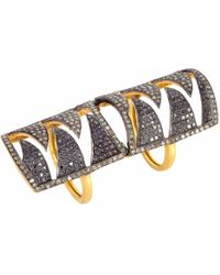 Meghna Jewels - Interlocking Claw Ring Black & Champagne Diamonds - Lyst