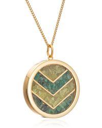 Rachel Jackson London - Large Emerald Chevron Amulet In Gold - Lyst