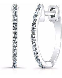 Anne Sisteron - White Gold Diamond Huggie Earrings - Lyst