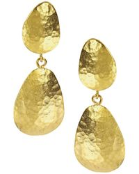 Ottoman Hands - Hand-hammered Gold Double Drop Earrings - Lyst