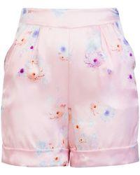 7a66c3334243 Sophie Cameron Davies - Tailored Silk Short Pink Beach Flower - Lyst